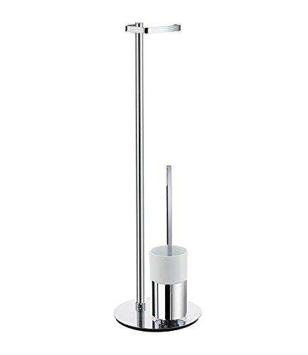 Smedbo FK312P Roll Holder (Freestanding)/Toilet Brush Glass Container, Polished Chrome/White Porcelain (Smedbo Brush Outline Toilet)