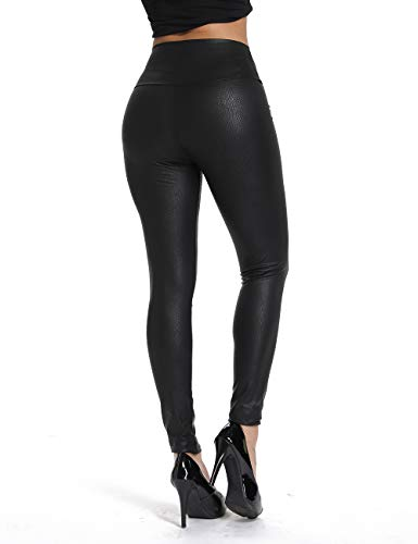 RIOJOY Womens Sexy Faux Leather Leggings Skinny PU Butt Lift Bodycon Pants High Waist Trousers]()
