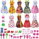 Total 50pcs -9 Pack Doll Clothes Party Gown Outfits +41pcs Different Doll Accessories Shoes bags Glasses Necklace Tableware Mirror For for Barbie doll Girl Birthday Gift