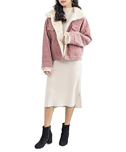 Gihuo Women's Vintage Corduroy Sherpa Fleece Lined Jacket Thickened Warm Quilted Jacket (Pink, Medium)