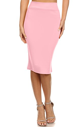 Simlu Pencil Skirt Plus Size and reg Below The Knee Skirts, Pink, ()