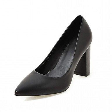 Talones de las mujeres de cuero Primavera Otoño Comfort oficina y carrera del vestido ocasional de tacón grueso Negro Marrón Beige Black