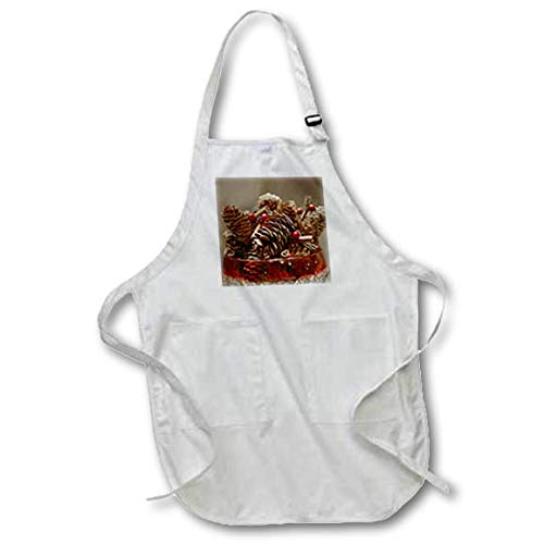 3dRose Stamp City - Still Life - A Photograph of a Candy Bowl Filled with Pinecone and Berry Garland. - Black Full Length Apron with Pockets 22w x 30l (apr_302862_4) ()