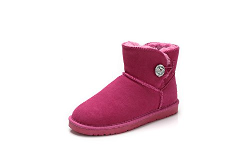 qin&X Women's Leisure Warm Thick Bottom Snow Boots Shoes Peach Red r7EetMyyPP