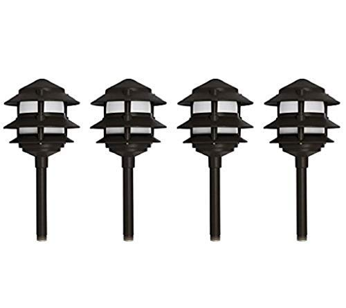 - Westgate Lighting LED Area Light-Solid Brass Pagoda Light- Warm White Landscape Lighting-Pagoda Light with Integrated SMD LED Tower-3 Year Unlimited Warranty (4, Black)