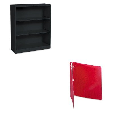 KITACC38619HONS42ABCP - Value Kit - Acco Recycled PRESSTEX Round Ring Binder (ACC38619) and The HON Company HON Brigade 3-Shelf Steel Bookcase, Black (HONS42ABCP)