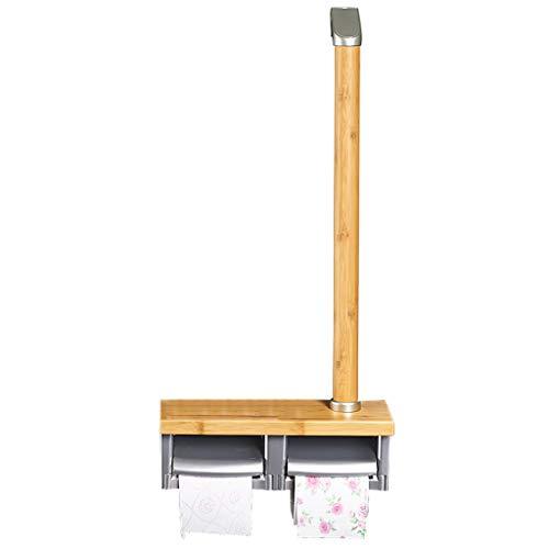 (Bathroom Grab Bar Bamboo Wood with Paper Towel Rack Toilet Paper Holder Handrail Roll Holder Senior Safety Creative Armrest(Log Color))