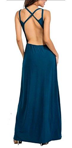Jaycargogo Evening Prom Ball Blue V Women's Slit Side Dress Deep Long Formal Chiffon Neck Gown rqrw7PH