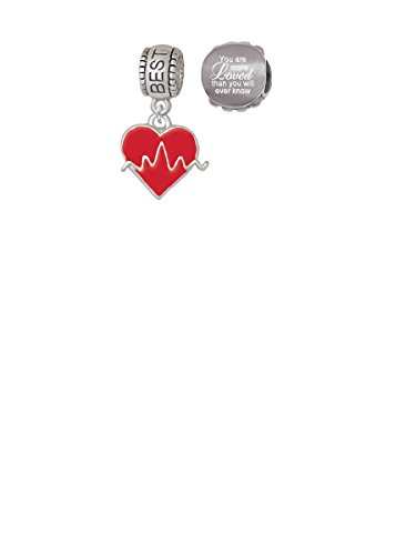 Heartbeat on Red Heart Best Friend Charm Bead with You Are More Loved Bead (Set of 2)