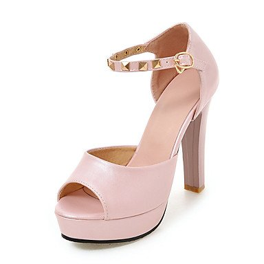 LvYuan Mujer-Tacón Robusto-Otro-Sandalias-Oficina y Trabajo Vestido Fiesta y Noche-PU-Negro Rosa Blanco Pink