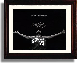 """Framed LeBron James """"We Are All Witnesses"""" Cleveland Cavs Autograph Print"""