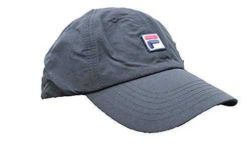 (Fila Unisex Heritage Adjustable Matte Nylon Dad Cap Hat (Black))