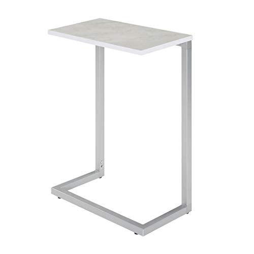 Sunon C-Shape Snack Side Table,17.3 x 9.8 x 26.5 Nesting End Table with Wood Laminate Top and Metal Frame Base White
