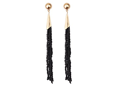 Mina Gold Beaded Strands 4.7 inch Drop Extra Long Tassel Drop Shoulder Duster Statement Black Earring