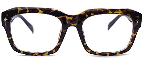 Big Square Horn Rim Eyeglasses Nerd Spectacles Clear Lens Classic Geek Glasses (LEOPARD 10294E, clear)