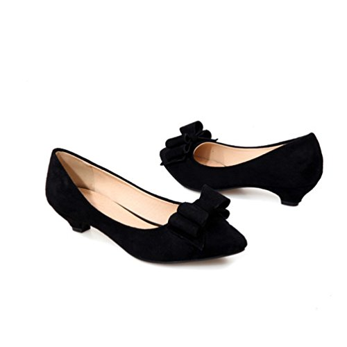 YOUJIA Womens Low Cone Heel Court Shoes Pointed-Toe Slip On Dolly Party Evening Office Shoes With Bows Black lIwHgdmr9M