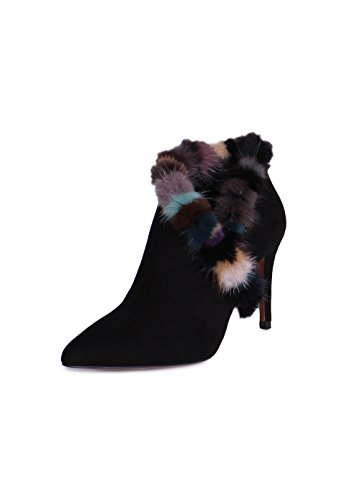 Donald J Pliner Renata Suede Mink Fur Trim Ankle Booties in Black Size 9