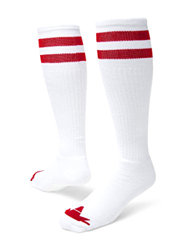 Red Lion Old School Classic Two Stripe Athletic Socks ( White / Red - Medium ) ()