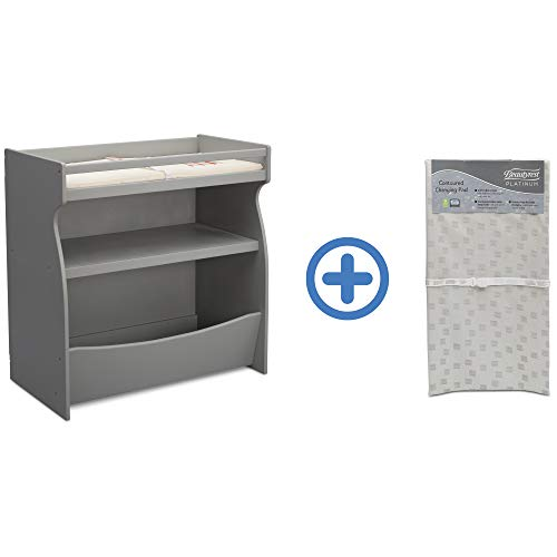 Cheapest Price! Delta Children 2-in-1 Changing Table & Storage Unit, Grey and Waterproof Baby and In...