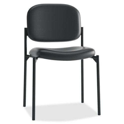 basyx Vl606 Series Stacking Armless Guest Chair, Black Leather
