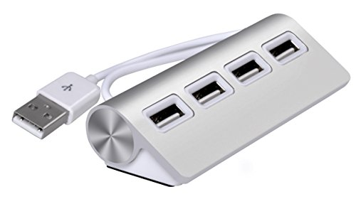 Cateck Premium 4 Port Aluminum USB Hub with 11 inch Shielded