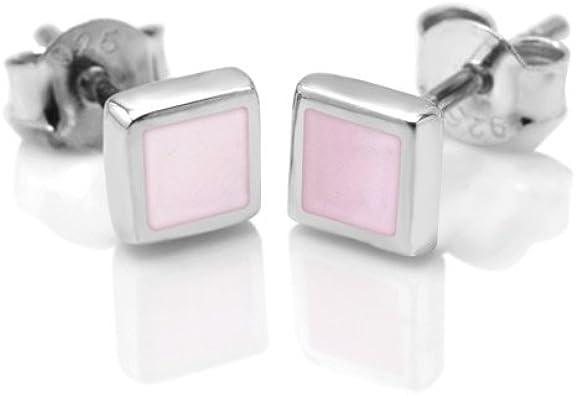 Pink Mother of Pearl Silver Stud Earrings
