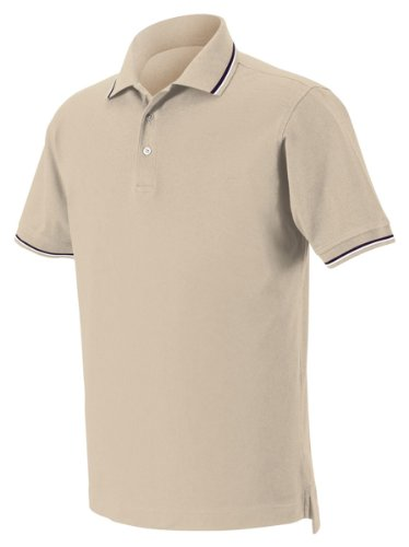 Harvard Square Men's Short Sleeve Pima Reserve Tipped Pique Polo Shirt HS360 beige Small (Tipped Pima Pique Polo)