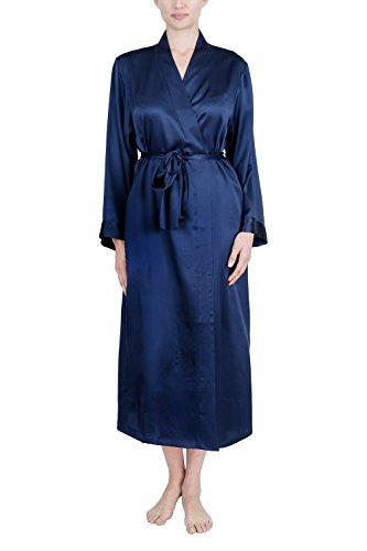 Robe Charmeuse Womens (OSCAR ROSSA Women's Luxury Silk Sleepwear 100% Silk Long Robe Kimono)