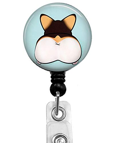 TS - Cute Dog Ass Retractable ID Card Badge Holder with Alligator Clip, Medical Nurse Badge ID, Office Employee Name Badge