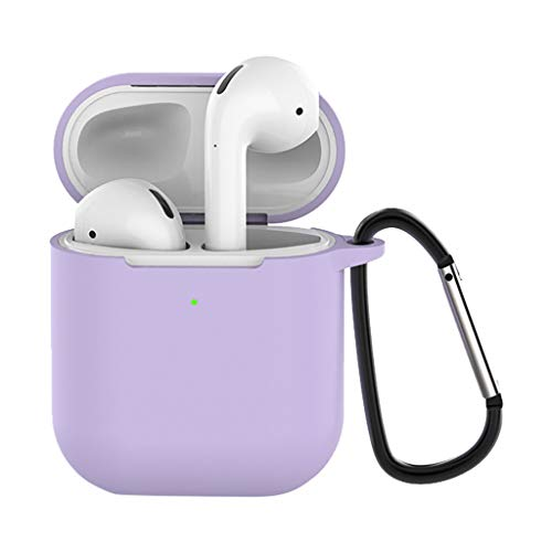 (❤️MChoice❤️Soft Silicone Shock Proof Protective Cover Case for Apple for AirPods Earphones (Purple - with Button))