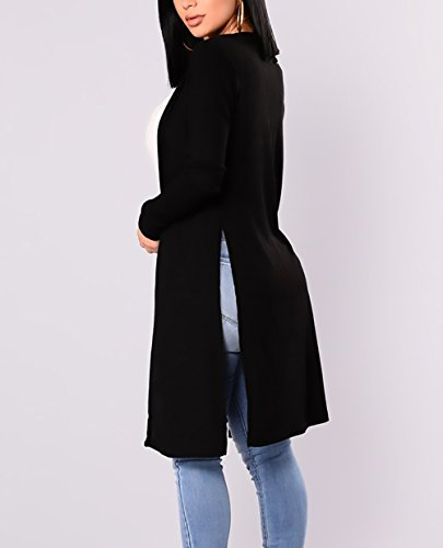 Cardigans Cardigan Maglie Lungo Autunno Semplice Puro Casual Cappotti Nero Lunga Manica Elegante Fit Moda Donna Maglioni Slim Colore Outerwear Inverno rtrdq6ax