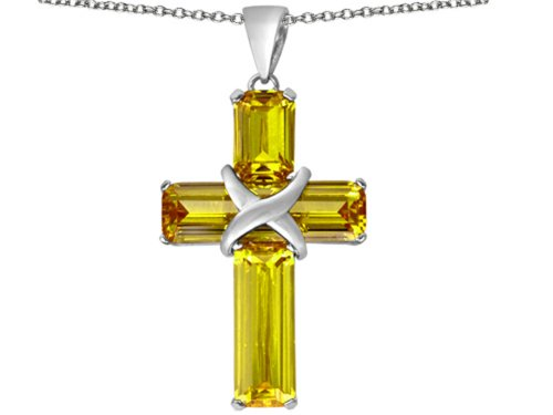 Star K Large Christian Cross Pendant Necklace with Emerald Cut Simulated Citrine Stones Sterling Silver ()