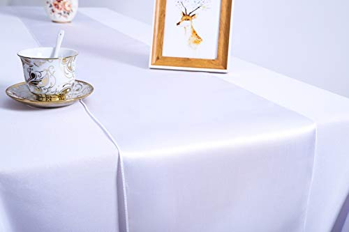 Pack of 10 Wedding 12 x 108 inch Satin Table Runners fit Rectange and Round Table Decorations for Birthday Parties, Banquets, Graduations, Engagements (10, White) ()