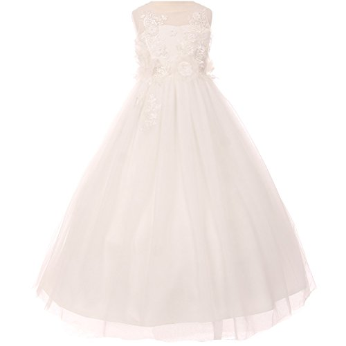 Big Girls Illusion Sleeveless Raised Flowers Embellishment Lace Floor Length A-Line Dress Ivory - Size 8 by CrunchyCucumber