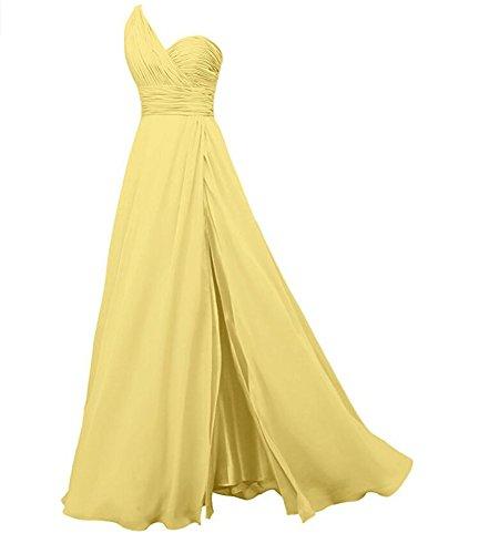 Ak Chiffon Geschlitzt Kleid Der Eine Schulter Linie nheit Frauen Gelb Prom Eine Sch Brautjunferkleider Lange rOqSYr