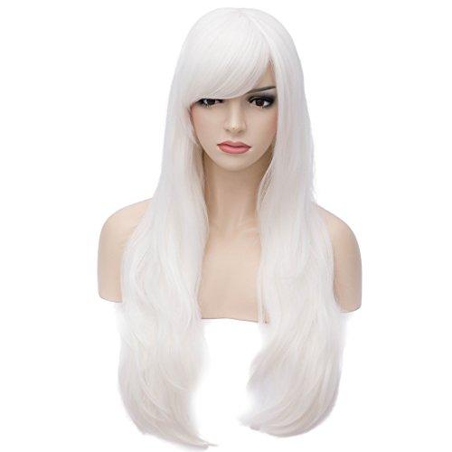Aosler Women's White Long Wig,26