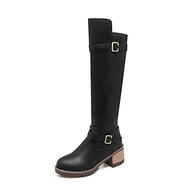 Knee 5 Shoes Casual Boots Yellow For CN35 RTRY Light Grey Chunky 5 UK3 High Winter Black Boots EU36 Toe Fashion Leatherette Boots Heel Round Women'S US5 Dress 4HqxH5P