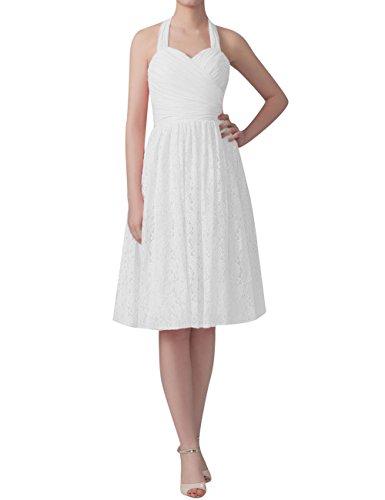 Cdress Dentelle Licol En Mousseline De Soie Courte Robes Formelles De Fête De Mariage Robes De Demoiselle D'honneur Blanc