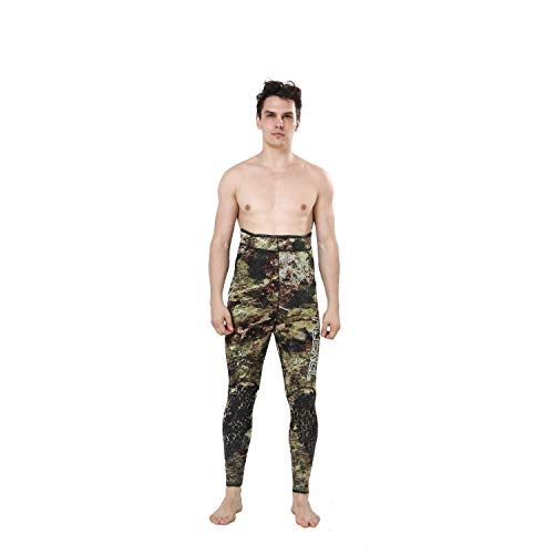 Flexel Camo Spearfishing Wetsuits Men Premium Neoprene Camouflage 2-Pieces Hoodie Freediving Fullsuit for Scuba Diving Snorkeling Swimming (5mm Grass camo, Medium) by Flexel (Image #3)