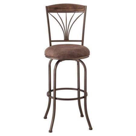 Cresmont Swivel Bar Stool, Gray Stone Finish/Antique Brown Wood Panel Top (Stone Top Patio Table Costco)