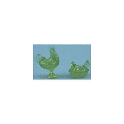 Dollhouse Miniature Rooster/hen Candy Dishes, Green ()