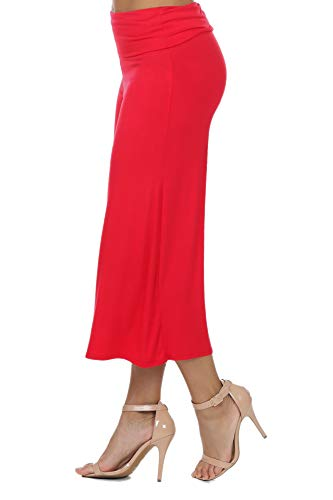 7012 Women's Knit Jersey Capri Culottes Pants Red 3XL