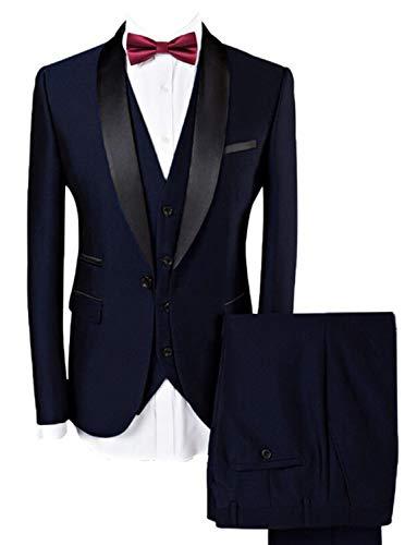 Lilis Men Suit Wedding Suits for Men Shawl Collar 3 Pieces Slim Fit Tuxedo Jacket Pants Vest Set Navy Blue