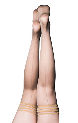 Kix`ies Thigh Highs Stockings Hold Up Nylon Pantyhose - You'll be the Toast of the Town in Champagne - Vanessa (Size C)]()