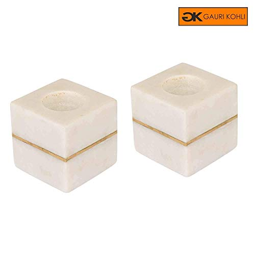 Marble Design Candle Holder - GAURI KOHLI Elegant Marble Candle Holders with Brass Inlay (Set of 2 | Color White)