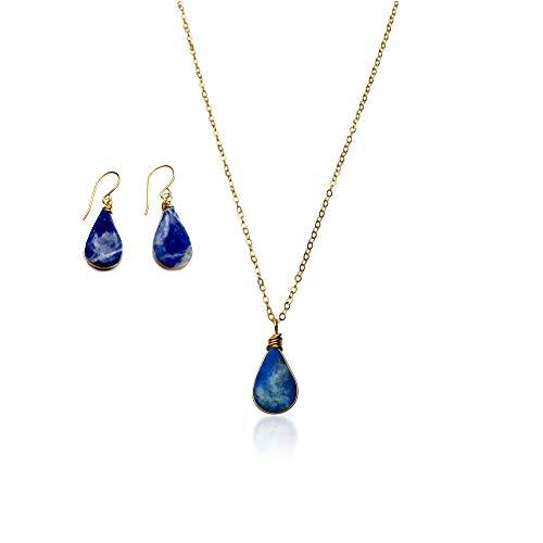- RUMI SUMAQ Jewelry Set for Women: Blue Sodalite Stone Dainty Teardrop Pendant Necklace and Earrings