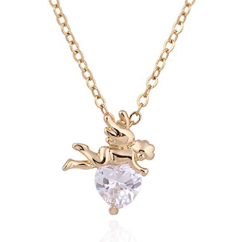 (Gimax Wholesale Fashion Yellow Gold-Color White Heart CZ Stylish Cupid Pendant Necklace - (Metal Color:)