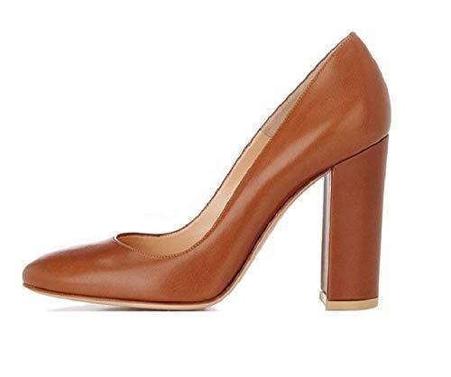 Sammitop Women's Round Toe Block Heel Pumps Closed Toe Covered Heel Dress Shoes Tan ()