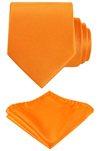 (Solid Color Neck tie, Pocket Square set,Satin Super Fine Micro Fiber,Silky Finishing,Gift Box Packing. (Orange))