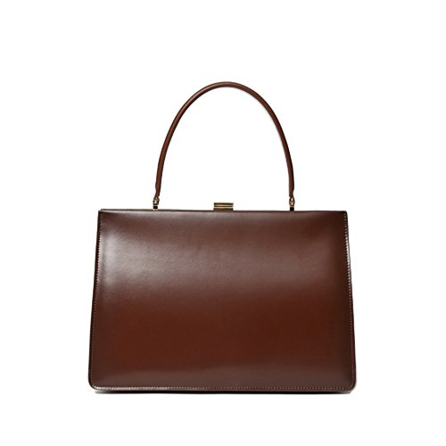 (Viviesta Women's Genuine Leather Large Vintage Clasp Frame Top Handle Handbag )